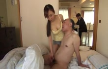 Slutty Asian hoe with older guy