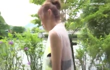 Japanese babe blowing in nature
