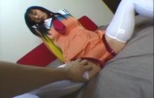 Asian teen masturbates to orgasm