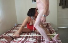 Bound Asian wife screwed on the bed