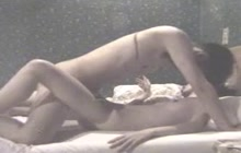Asian couple fucking hard on the bed