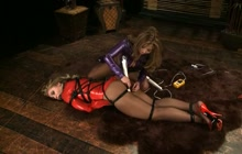 Bound Asian beauty pleased by her mistress