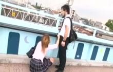 Naughty schoolgirl giving me a handjob