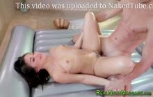 Bathing asian masseuse teen strokes cock